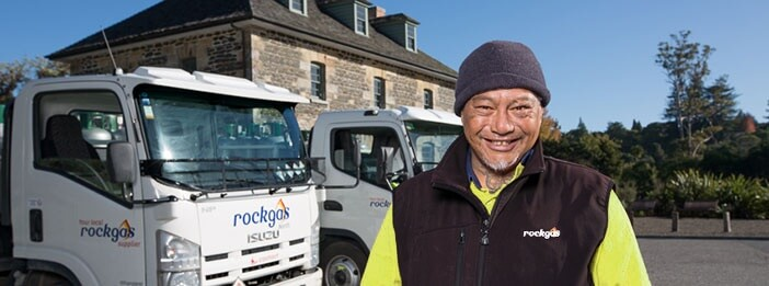 smiling rockgas delivery driver-gas cylinders-Rockgas North